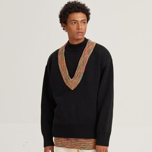 OVER FIT V NECK KNIT_BLACK