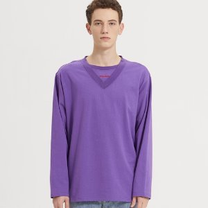SEMI-OVER LAYERED V-NECK LONG SLV_DARK PURPLE