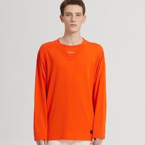 SEMI-OVER LAYERED V-NECK LONG SLV_ORANGE