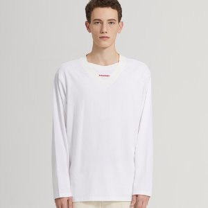 SEMI-OVER LAYERED V-NECK LONG SLV_WHITE