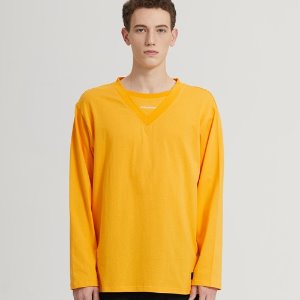 SEMI-OVER LAYERED V-NECK LONG SLV_YELLOW