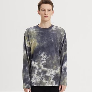 SEMI-OVER TIE DYE LONG SLV TEE_KHAKI