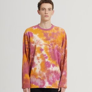 SEMI-OVER TIE DYE LONG SLV TEE_PINK